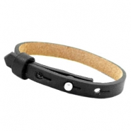 Leather Cuoio kids bracelet 8mm for 12mm cabochon Black