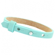 Leather Cuoio kids bracelet 8mm for 12mm cabochon Aqua blue