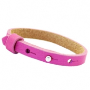Leather Cuoio kids bracelet 8mm for 12mm cabochon Hot pink