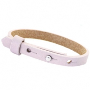 Leather Cuoio kids bracelet 8mm for 12mm cabochon Lavender purple fog