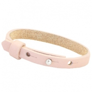 Leather Cuoio kids bracelet 8mm for 12mm cabochon Soft rose quartz