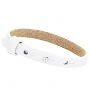 Leather Cuoio kids bracelet 8mm for 12mm cabochon White