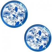Basic Delft blue cabochon 20mm flowers White-blue