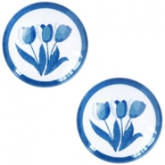 Basic Delft blue cabochon 12mm Tulips White-blue