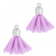Ibiza style tassels with end cap Silver-lavender purple