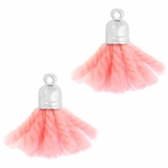 Ibiza style tassels with end cap Silver-vintage rose