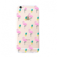 Trendy phone cases for Iphone 7 Plus flamingo & pineapple Transparent-yellow pink