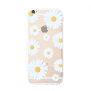 Trendy phone cases for Iphone 6 Plus daisies Transparent-white yellow