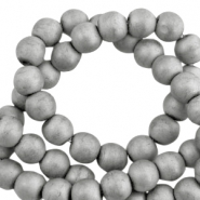Round hematite beads 4mm matt Light grey
