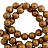 Round hematite beads 4mm  Rose gold