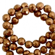 Round hematite beads 6mm faceted cut Rose gold