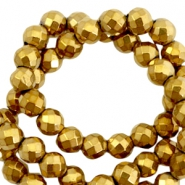Round hematite beads 6mm faceted cut Gold