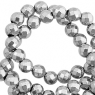 Round hematite beads 6mm faceted cut Light grey