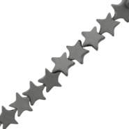 Hematite beads star 6mm matt Anthracite grey