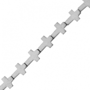 Hematite beads cross matt Light grey