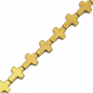 Hematite beads cross Gold