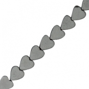 Hematite beads heart 8mm Anthracite grey