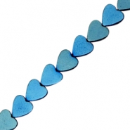 Hematite beads heart 8mm Dynamic blue