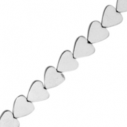 Hematite beads heart 8mm Light grey