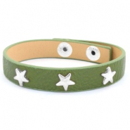 Trendy bracelets with studs silver star Army green