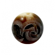 DQ acrylic carved Polaris beads 20mm Brown-beige