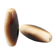 DQ acrylic oval tube Polaris beads Beige-brown