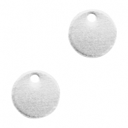 Round DQ metal charms 8mm  Antique silver (nickel free)