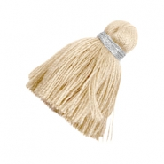 Ibiza style tassels 3.6cm Silver-sand brown