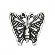 TQ metal beads butterfly Antique silver