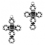 TQ metal charms cross with setting Antique silver