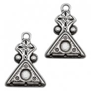 TQ metal traingle charms with setting and 3 loops Antique silver