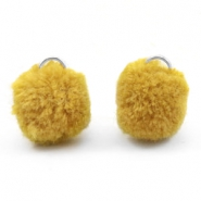 Pompom charm with eye silver 15mm Spicy mustard green