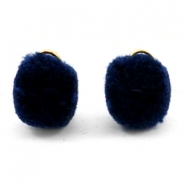 Pompom charm with eye gold 15mm Dark blue