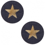 Wooden cabochon Star 12mm Dark Blue