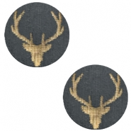 Wooden cabochon Reindeer 12mm Dark Grey