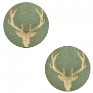 Wooden cabochon Reindeer 12mm Dark Green