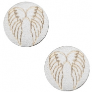 Wooden cabochon Angel Wings 12mm Silver