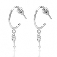 Trendy earrings open ring arrow Silver