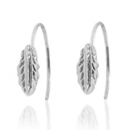 Trendy earrings open ring feather Silver