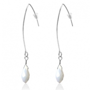 Trendy earrings with drop shaped faceted pendant Silver-White Pearl Shine Coating
