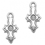 Charms TQ metal cross with setting Antique Silver