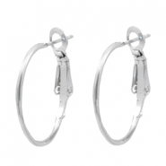 Findings TQ metal Creole earrings 18mm Light Silver