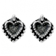 Findings TQ metal studs heart Antique Silver