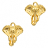DQ metal charms elephant head Gold (nickel free)