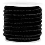 Trendy stitched velvet cord 6x4mm Black