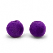 Velvet pompom beads 8mm Royal Purple