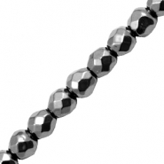 Hematite beads round 4mm faceted Anthracite Grey