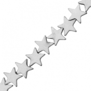 Hematite beads star 10mm Matt Light Grey