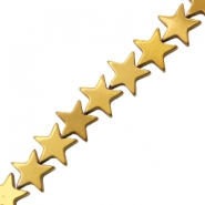 Hematite beads star 10mm Gold