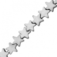 Hematite beads star 4mm Matt Light Grey